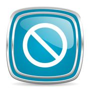 Access denied blue glossy icon Stock Illustration