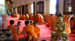 Thailand monks ending a prayers session before a feast (CM--52b) Stock Footage