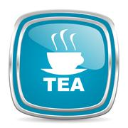 Tea blue glossy icon Stock Illustration