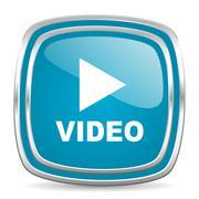 Video blue glossy icon Stock Illustration
