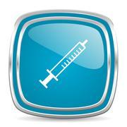 Medicine blue glossy icon Stock Illustration