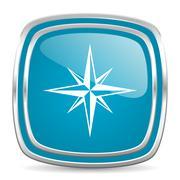 Compass blue glossy icon Stock Illustration