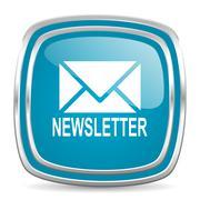 Newsletter blue glossy icon Stock Illustration