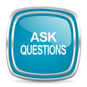 ask questions blue glossy icon - stock illustration