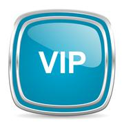 Vip blue glossy icon Stock Illustration