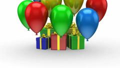 Balloons fly up and arise gift boxes - stock footage