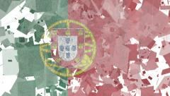 National Transitions  - Portuguese  Flag-White Stock Footage