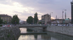 Traffic at Barscarsija on the river Miljacka, Sarajevo Stock Footage