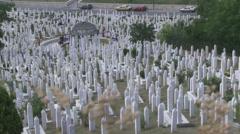 Islamic cemetary in Sarajevo Stock Footage
