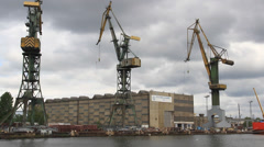 Gdansk shipyard (Polish: Stocznia Gdanska). Gdansk, Poland 2 Stock Footage