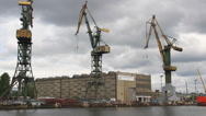 Stock Video Footage of Gdansk shipyard (Polish: Stocznia Gdanska). Gdansk, Poland 2