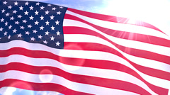 Stock Video Footage of USA US American Flag Closeup Waving Against Blue Sky Seamless Loop CG 2