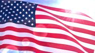 Stock Video Footage of USA US American Flag Closeup Waving Against Blue Sky Seamless Loop CG 2