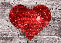grunge background with heart - stock illustration