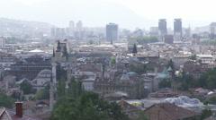 Panorama of Sarajevo in Bosnia an Herzegovina Stock Footage