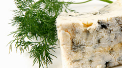 Blue stilton cheese with dill Stock Footage