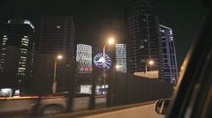Car POV of night driving through Shanghai Stock Footage