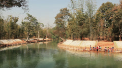 People Bathe River Inle Stock Footage