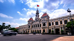 The world famous historic spot-City Hall in Ho chi minh city, Vietnam Stock Footage