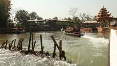 River Stream Boat Inle Stock Footage