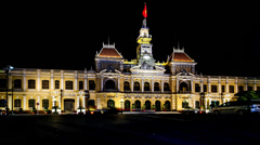 The historic spot-City Hall  at night in Ho Chi Minh city, Vietnam Stock Footage