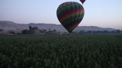 Hot air balloon flying low over a field, Luxor, Egypt Stock Footage