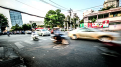 The heavy traffic at the crossing in Ho Chi Minh city, Vietnam Stock Footage