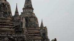 Wat Phra Si Sanphet in Ayutthaya - short quick zoom shot Stock Footage