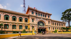 The french building-post office in Ho Chi Minh city, Vietnam Stock Footage