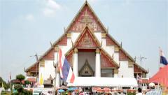 Wihan Phra Mongkhon Bophit in Ayutthaya Stock Footage