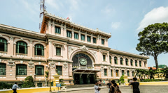 Hyerlapse, Different view of french building-post office in Ho Chi Minh city, Stock Footage