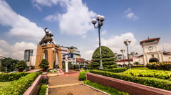 The visitors in historic spot-Quach Thi Trang Park of Ho Chi Minh city, Vietnam Stock Footage