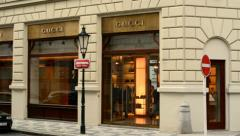 Luxury store (exterior) with people - Gucci Stock Footage
