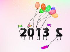 Stock Illustration of Funny 2013 New Year's Eve greeting card. + EPS8