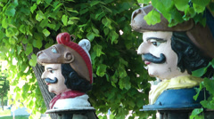 Swedish Heads are an emblem of the town of Wismar, Germany - stock footage