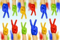 Hands of different colors. cultural and ethnic diversity Stock Photos