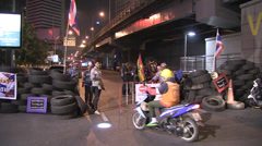 PROTESTERS BLOCK ROADS EMPTY DANGER FORBIDDEN. Stock Footage