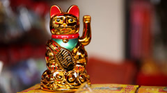 Golden Japanese Lucky Cat Stock Footage