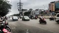 All kinds of vehicles run on the street in Hanoi, Vietnam Stock Footage