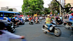 Hundreds of motorcyclists run on the road in Ho Chi Minh city, Vietnam Stock Footage