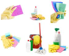 Collection of cleaning products and tools Stock Photos