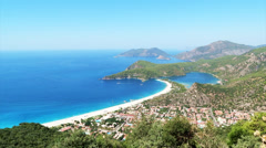 Panorama of oludeniz blue lagoon beach turkey Stock Footage