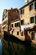 Water reflexions in Venice - stock photo