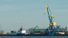 Wismar / harbour / cargo / ship / Germany Stock Footage
