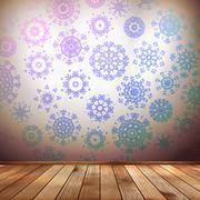 Winter interior walls decorated snowflakes. EPS 10 - stock illustration