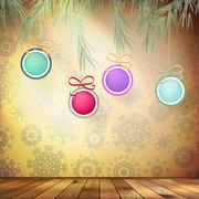 Christmas fir tree with decoration. EPS 10 Stock Illustration