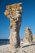 limestone pillars at Gotland island - stock photo