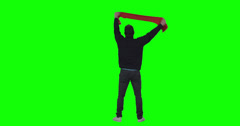 Football fans on green screen. Goal. Stock Footage