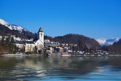 Village St Wolfgang on the lake Wolfgangsee - Salzburg Austria - stock photo