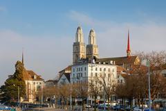 Zurich city, Switzerland. Grossmunster cathedral Stock Photos
